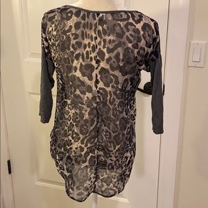 Cheetah Gray 3/4 Sleeve Long Sleeve